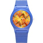 Fall Colors Leaves Pattern Round Plastic Sport Watch (S) Front