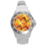 Fall Colors Leaves Pattern Round Plastic Sport Watch (L) Front