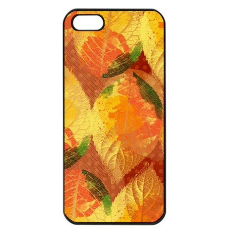 Fall Colors Leaves Pattern Apple iPhone 5 Seamless Case (Black)