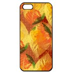 Fall Colors Leaves Pattern Apple iPhone 5 Seamless Case (Black) Front
