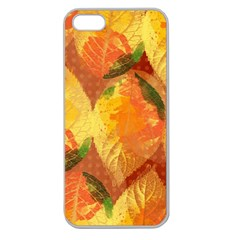 Fall Colors Leaves Pattern Apple Seamless Iphone 5 Case (clear)