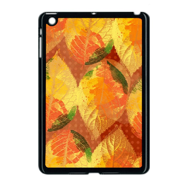 Fall Colors Leaves Pattern Apple iPad Mini Case (Black)