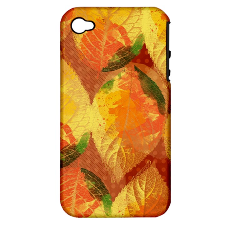 Fall Colors Leaves Pattern Apple iPhone 4/4S Hardshell Case (PC+Silicone)