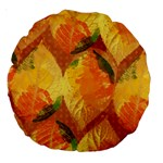 Fall Colors Leaves Pattern Large 18  Premium Round Cushions Back