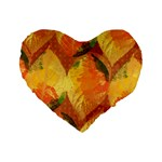 Fall Colors Leaves Pattern Standard 16  Premium Heart Shape Cushions Front