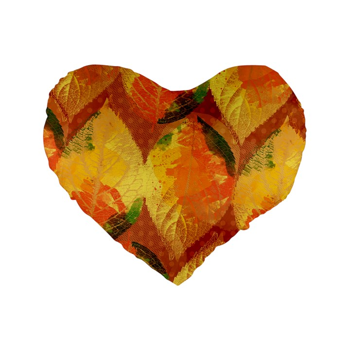 Fall Colors Leaves Pattern Standard 16  Premium Heart Shape Cushions