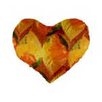 Fall Colors Leaves Pattern Standard 16  Premium Heart Shape Cushions Back