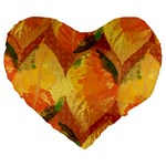 Fall Colors Leaves Pattern Large 19  Premium Heart Shape Cushions Front