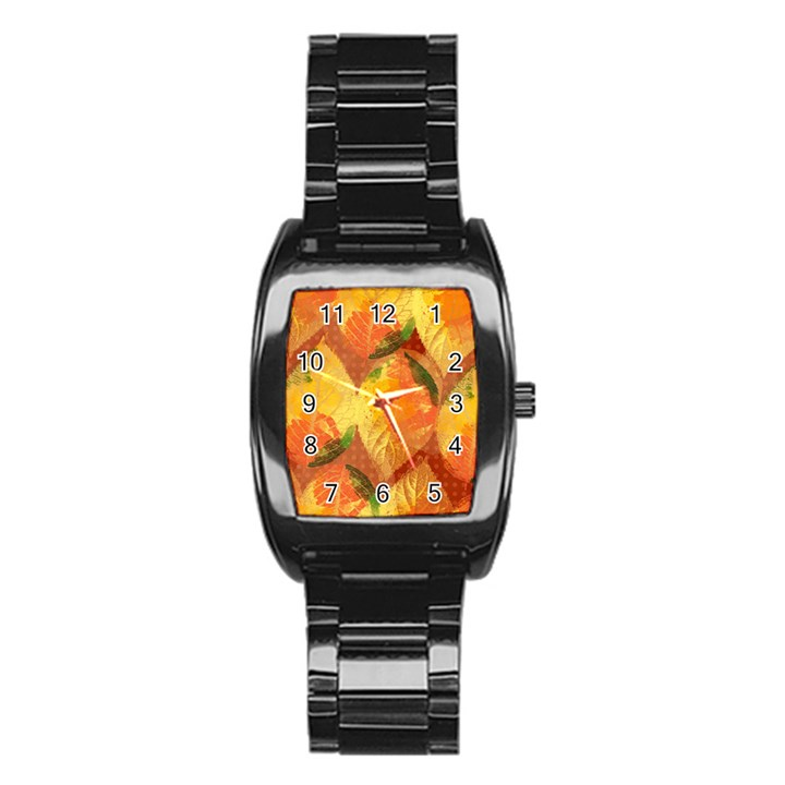 Fall Colors Leaves Pattern Stainless Steel Barrel Watch