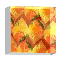 Fall Colors Leaves Pattern 5  x 5  Acrylic Photo Blocks