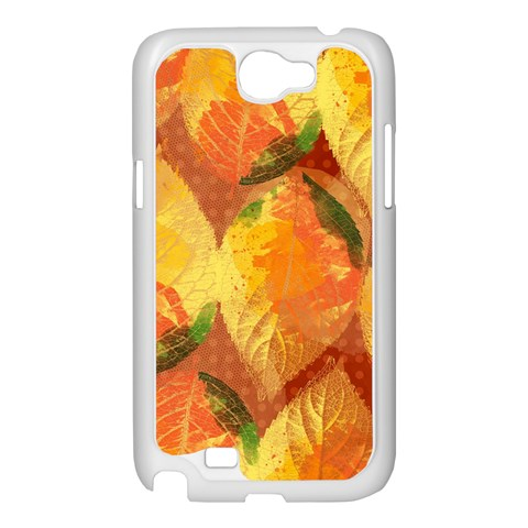 Fall Colors Leaves Pattern Samsung Galaxy Note 2 Case (White)