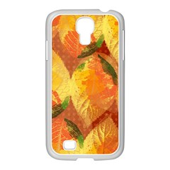 Fall Colors Leaves Pattern Samsung GALAXY S4 I9500/ I9505 Case (White)