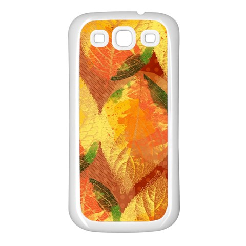 Fall Colors Leaves Pattern Samsung Galaxy S3 Back Case (White)