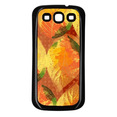 Fall Colors Leaves Pattern Samsung Galaxy S3 Back Case (Black)