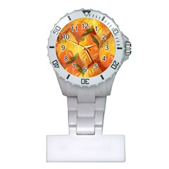 Fall Colors Leaves Pattern Plastic Nurses Watch