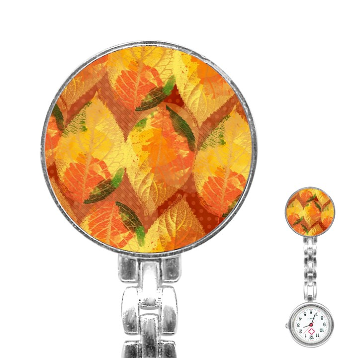 Fall Colors Leaves Pattern Stainless Steel Nurses Watch