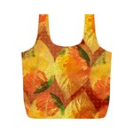 Fall Colors Leaves Pattern Full Print Recycle Bags (M)  Back