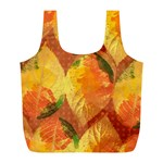 Fall Colors Leaves Pattern Full Print Recycle Bags (L)  Back