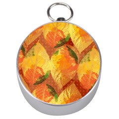 Fall Colors Leaves Pattern Silver Compasses