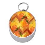 Fall Colors Leaves Pattern Mini Silver Compasses Front