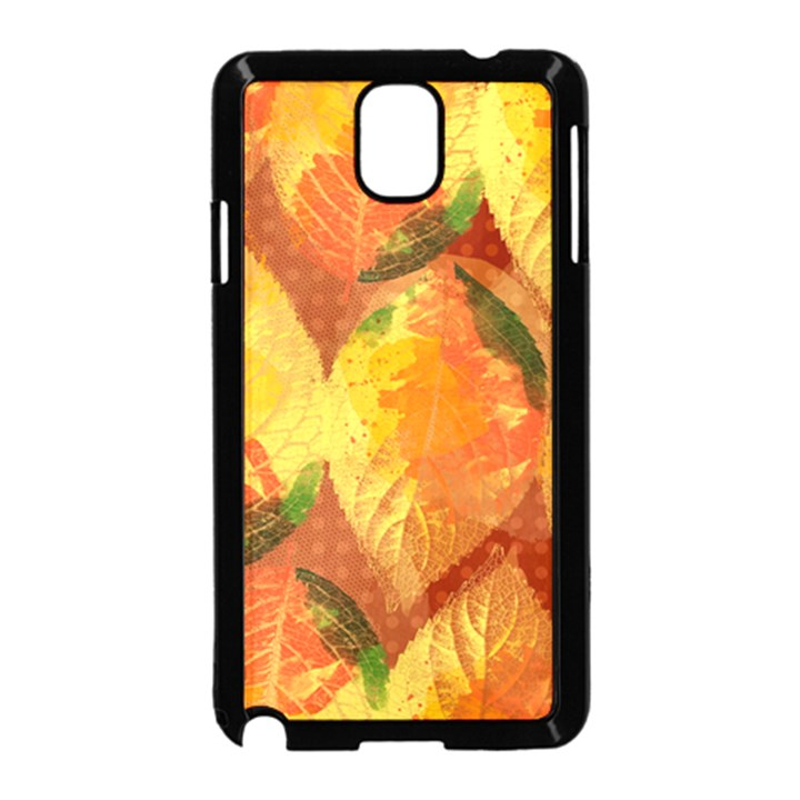 Fall Colors Leaves Pattern Samsung Galaxy Note 3 Neo Hardshell Case (Black)
