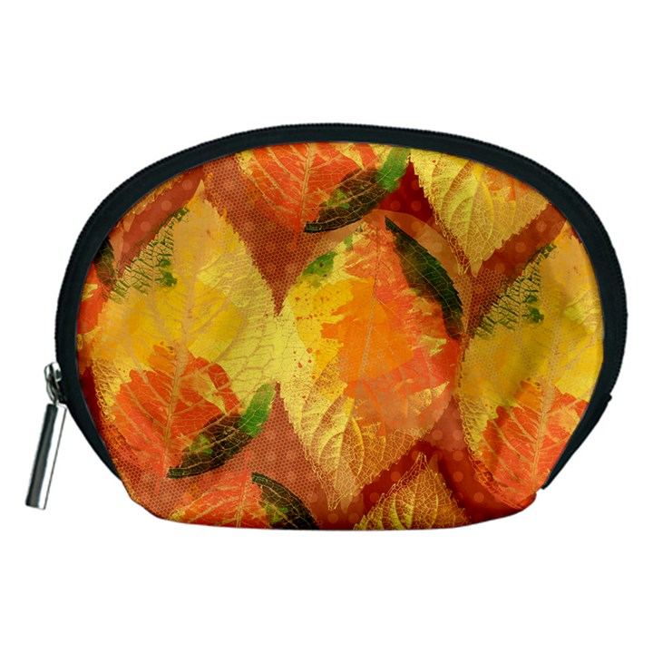 Fall Colors Leaves Pattern Accessory Pouches (Medium)