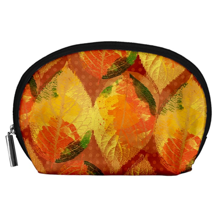 Fall Colors Leaves Pattern Accessory Pouches (Large)