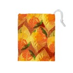 Fall Colors Leaves Pattern Drawstring Pouches (Medium)  Front