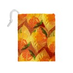 Fall Colors Leaves Pattern Drawstring Pouches (Medium)  Back