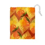 Fall Colors Leaves Pattern Drawstring Pouches (Large)  Front