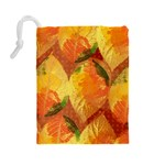 Fall Colors Leaves Pattern Drawstring Pouches (Large)  Back