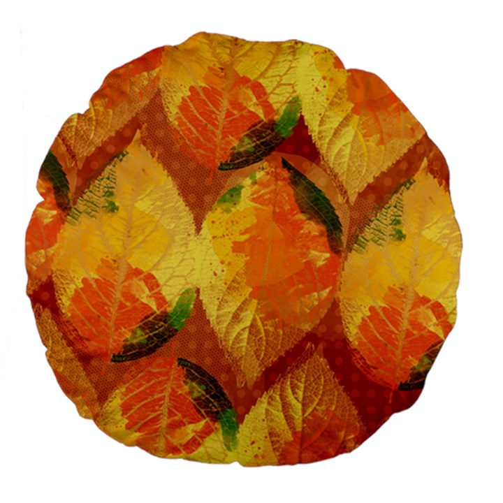 Fall Colors Leaves Pattern Large 18  Premium Flano Round Cushions