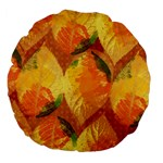 Fall Colors Leaves Pattern Large 18  Premium Flano Round Cushions Back