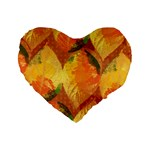 Fall Colors Leaves Pattern Standard 16  Premium Flano Heart Shape Cushions Front