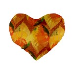 Fall Colors Leaves Pattern Standard 16  Premium Flano Heart Shape Cushions Back
