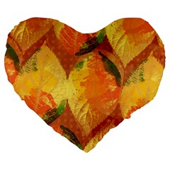 Fall Colors Leaves Pattern Large 19  Premium Flano Heart Shape Cushions