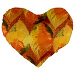 Fall Colors Leaves Pattern Large 19  Premium Flano Heart Shape Cushions Front