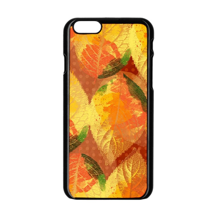 Fall Colors Leaves Pattern Apple iPhone 6/6S Black Enamel Case
