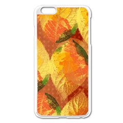 Fall Colors Leaves Pattern Apple iPhone 6 Plus/6S Plus Enamel White Case
