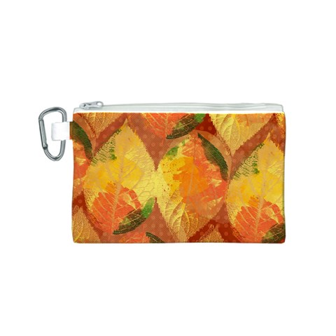 Fall Colors Leaves Pattern Canvas Cosmetic Bag (S)