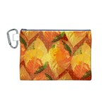 Fall Colors Leaves Pattern Canvas Cosmetic Bag (M) Front