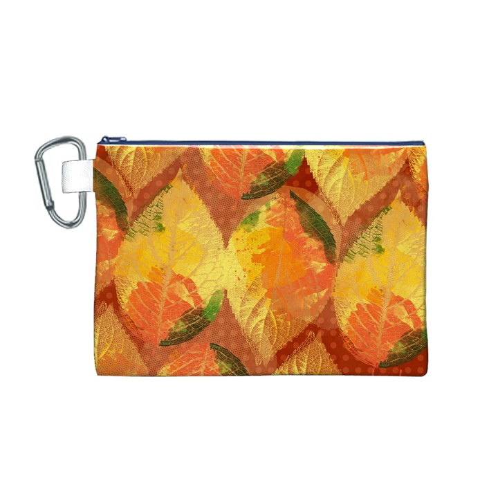 Fall Colors Leaves Pattern Canvas Cosmetic Bag (M)