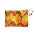 Fall Colors Leaves Pattern Canvas Cosmetic Bag (M) Back