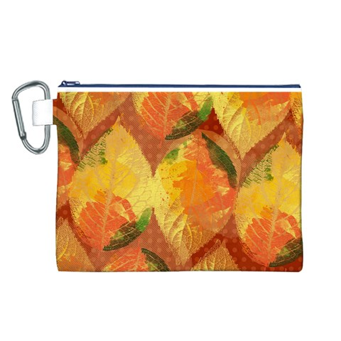 Fall Colors Leaves Pattern Canvas Cosmetic Bag (L)