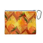 Fall Colors Leaves Pattern Canvas Cosmetic Bag (L) Back