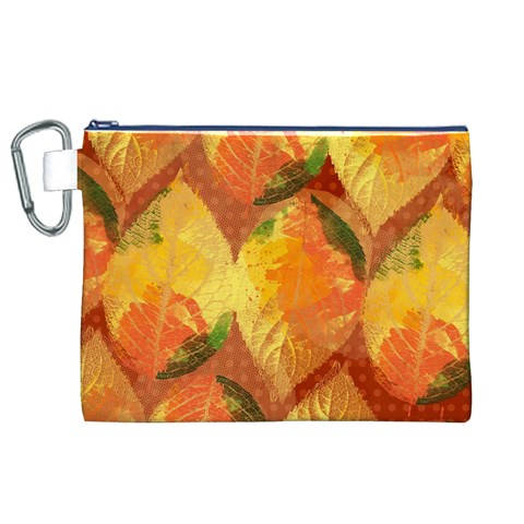 Fall Colors Leaves Pattern Canvas Cosmetic Bag (XL)