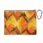 Fall Colors Leaves Pattern Canvas Cosmetic Bag (XL) Back
