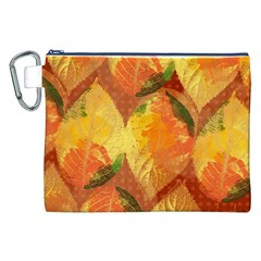 Fall Colors Leaves Pattern Canvas Cosmetic Bag (xxl)
