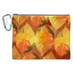 Fall Colors Leaves Pattern Canvas Cosmetic Bag (XXL) Front