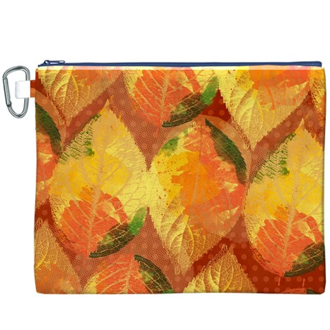 Fall Colors Leaves Pattern Canvas Cosmetic Bag (XXXL)